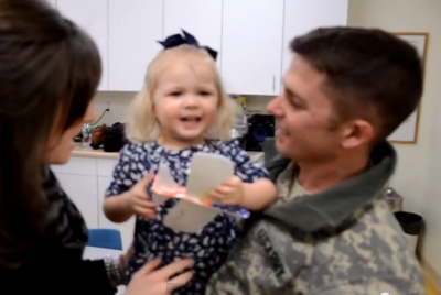 A adorable 2-year-old Girl Gets a Special Gift_Daddy Surprise Homecoming! can't stop watching this video. I love her reaction.