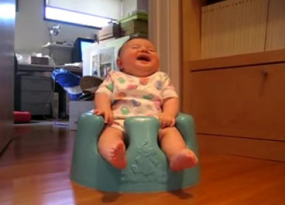 Adorable Baby Is Laughing So Hard.. Almost Falling Back LOL!!