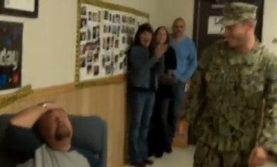 Sailor Surprises Father for 50th Birthday. You Gotta See Father's Reaction!!!