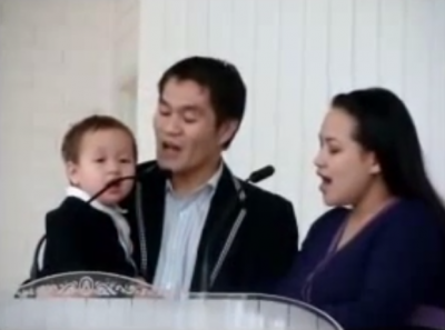 Cute Baby Learning To Sing In Church 'God Will Take Care of You'