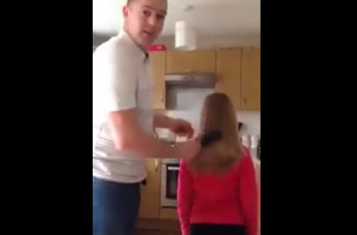 Hilarious daddy tells how to put his daughter's hair up in a ponytail. This will make you laugh so hard!