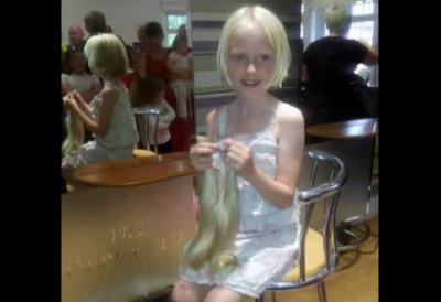 6-year-old girl gives up her hair to help children with cancer. See her wonderful plea!